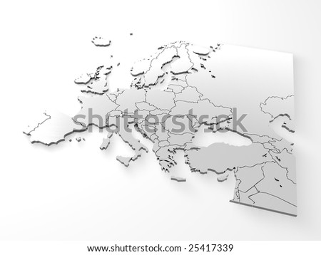 Europe 3D Map - stock photo