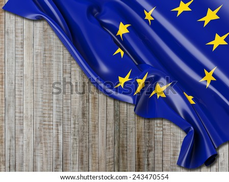 Europe EU flag with vertical wood