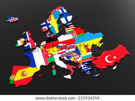 Europe. European flags. Countries of Europe. Black background - stock photo