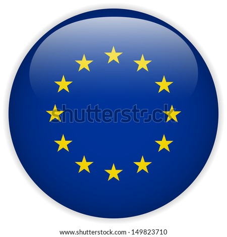 Europe Flag Glossy Button - stock photo