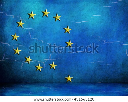 Europe flag with falling stars. EU European Union looking flaky. In difficulty. Brexit. - stock photo