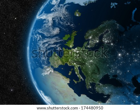 Europe from space. Elements of this image furnished by NASA. - stock photo