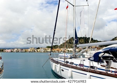Europe, Greece, island of Zakynthos. View of the city of Zakintos from yacht club.