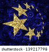 Europe industry and European Union economy concept ash a blue flag and yellow gold stars made of gears and cogs as an icon of a working connected network from Germany France Italy and United Kingdom. - stock vector