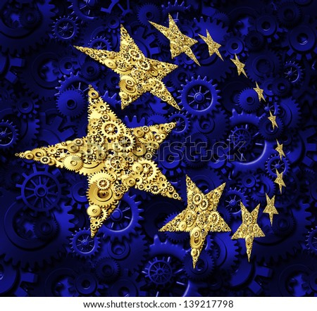 Europe industry and European Union economy concept ash a blue flag and yellow gold stars made of gears and cogs as an icon of a working connected network from Germany France Italy and United Kingdom. - stock photo