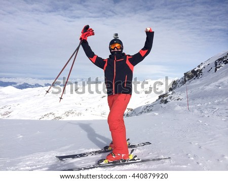 Europe, Italy, Alps. The mountain skier  be in raptures at mountain top.
