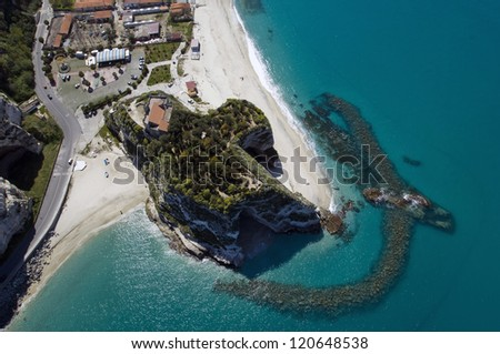 europe, italy, calabria, trope from above - stock photo
