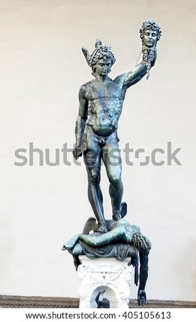 "Europe, Italy, Florence. ""Perseus"" with the severed head of Medusa the Gorgon (1553), loggia Lantsi on Signoria Square "", a statue of Benvenuto Cellini."