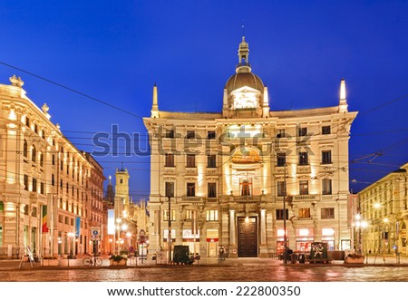 Europe Italy Milan Cordusio piazza central square at sunrise highly illuminated palaces and historic baroque buildings  - stock photo