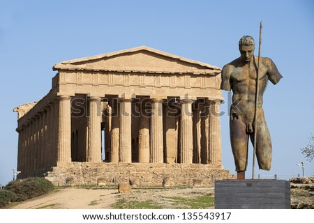 europe, italy, sicily, agrigento, concordia temple in the temples valley