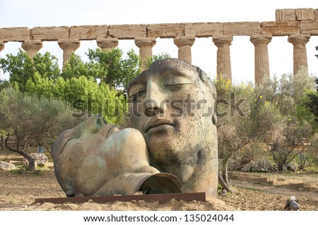 europe, italy, sicily, agrigento, Giunone temple rest in the temples valley - stock photo