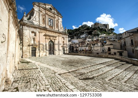 europe, italy, sicily, baroque facade church in Scicli - stock photo