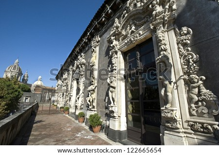 europe, italy, sicily, catania, biscari palace - stock photo