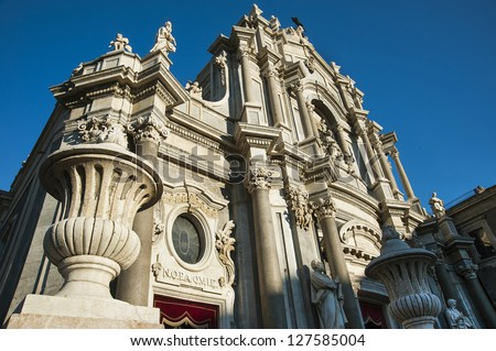 europe,italy, sicily, catania dome - stock photo