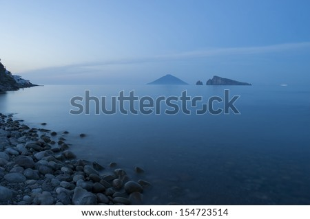 europe, italy, sicily, eolian island, panarea at sunset - stock photo