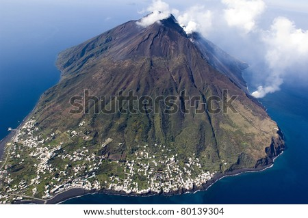 europe, italy, sicily, messina, stromboli volcano activity at eolie island - stock photo
