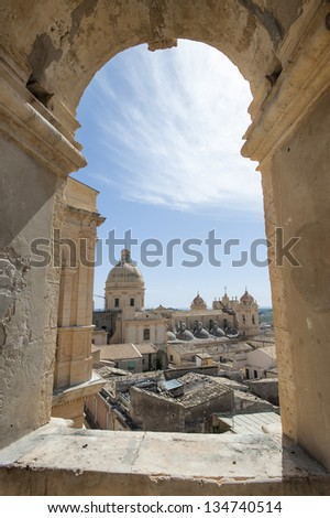 europe, italy, sicily, noto, bell tower of the church of Montevergini and view of the city
