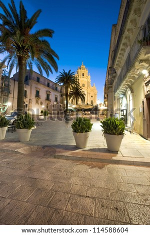 Europe, Italy, Sicily, Ragusa Dome Square and San Giorgio Church, late baroque.