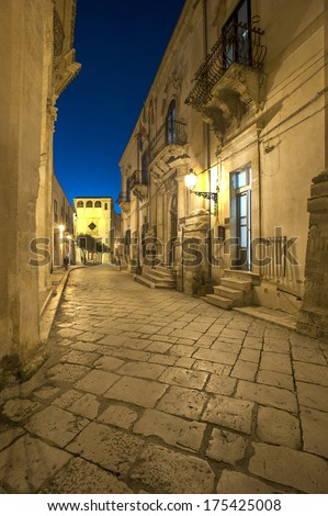 Europe, Italy, Sicily, Scicli, Mormina Street, late baroque, unesco eritage list - stock photo