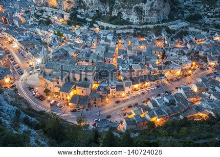 europe, italy, sicily, scicli, urban landscape at sunset