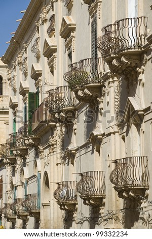 Europe, Italy, Sicily, view of Balcony Noto baroque town (UNESCO World Heritage), in Sicily (Italy). - stock photo