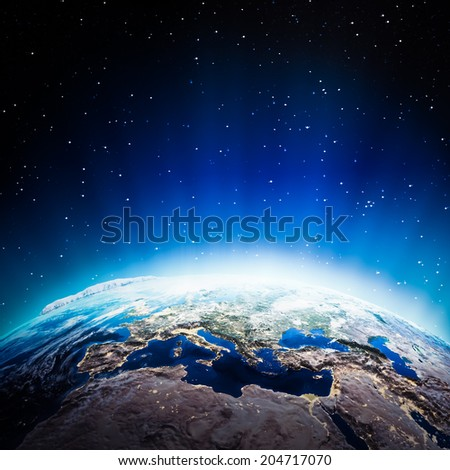 Europe lights at night. Elements of this image furnished by NASA - stock photo