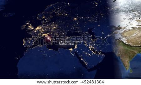 Europe Map Composition Gps Technology Satellite Stock Illustration - Satellite location map