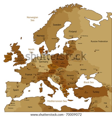 Europe map of brown sepia colors. Raster version. Vector version is also available. - stock photo