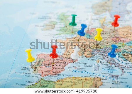 Europe Map pins travel for your planning trip. - stock photo