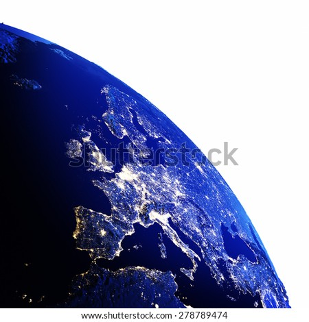 Europe map white isolated. Elements of this image furnished by NASA - stock photo