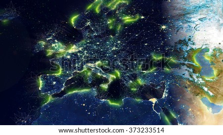 "Europe Map With Effects (Elements of this image furnished by NASA) - Click ""Follow"" on my portfolio for more! - stock photo"