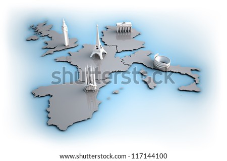 Europe map landmarks 5 biggest countries stock illustration europe map with landmarks of the 5 biggest countries gumiabroncs Choice Image