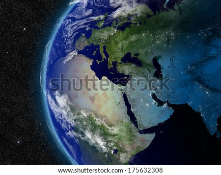 Europe, Middle East and Africa from space. Elements of this image furnished by NASA. - stock photo
