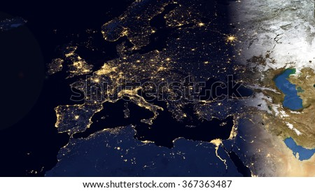 Europe Night Space View - High Resolution Map Composition (Elements of this image furnished by NASA)