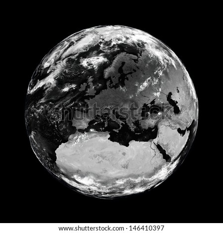 Europe on black planet Earth isolated on black background. Elements of this image furnished by NASA.