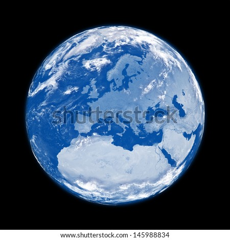 Europe on blue planet Earth isolated on black background. Elements of this image furnished by NASA.