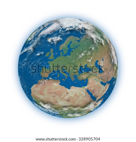 Europe on blue planet Earth isolated on white background. Highly detailed planet surface. Elements of this image furnished by NASA.