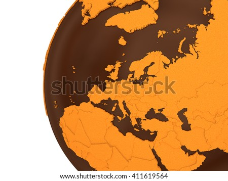 Europe on chocolate model of planet Earth. Sweet crusty continents with embossed countries and oceans made of dark chocolate. 3D rendering. - stock photo