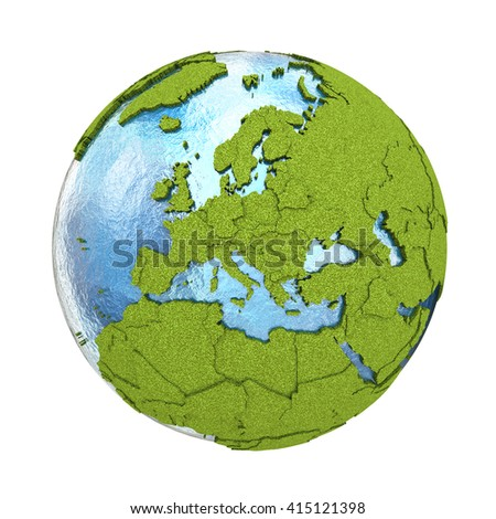 Europe on 3D model of planet Earth with grassy continents with embossed countries and blue ocean. 3D illustration isolated on white background. - stock photo