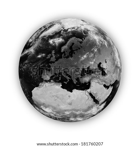 Europe on dark planet Earth isolated on white background. Highly detailed planet surface. Elements of this image furnished by NASA.