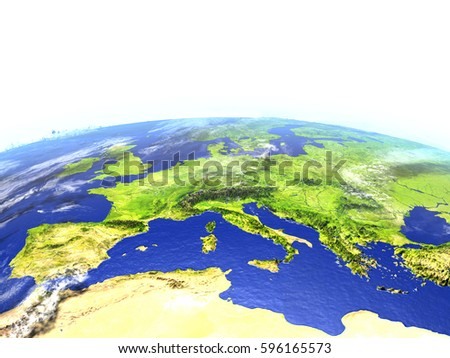 Europe on model of Earth. 3D illustration with realistic planet surface. Elements of this image furnished by NASA.