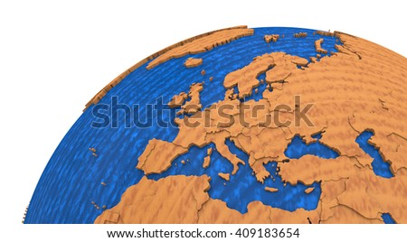 Europe on wooden model of planet Earth with embossed continents and visible country borders. 3D rendering. - stock photo