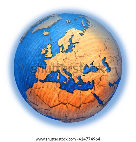 Europe on wooden model of planet Earth with embossed continents and visible country borders. 3D illustration isolated on white background. - stock photo