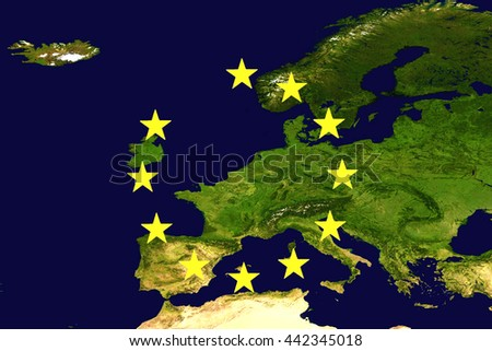 Europe or EU without the United Kingdom to illustrate the UK leaving the EU also known as Brexit - elements of this image furnished by NASA. - stock photo