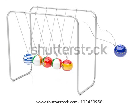 Europe political crisis concept in 3d. Newton cradle with european countries flags. - stock photo