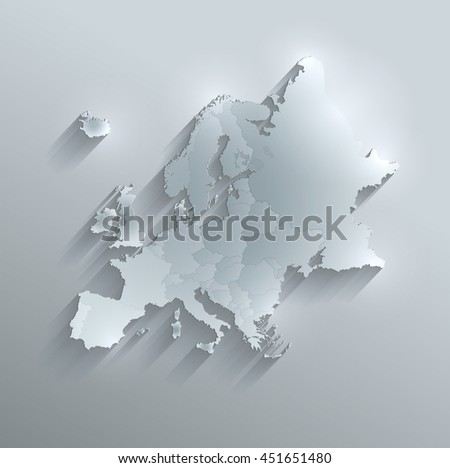 Europe political map glass card paper 3D raster individual states separate - stock photo
