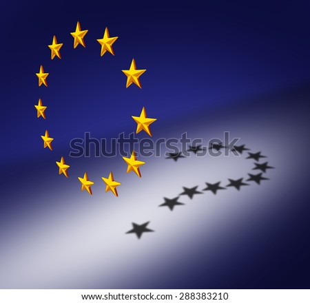 Europe questions or Eurozone crisis concept as a group of three dimensional stars with a cast shadow of a question mark as a symbol for euro decision uncertainty on financial debt and social issues. - stock photo