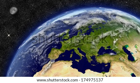 Europe region on planet Earth from space with Moon and stars in the background. Elements of this image furnished by NASA.