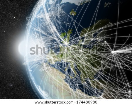 Europe region with network representing major air traffic routes. Elements of this image furnished by NASA. - stock photo