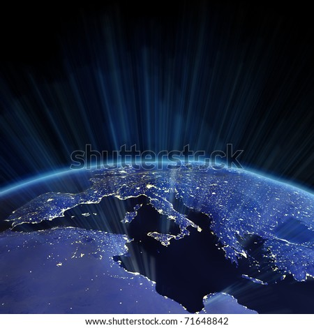 Europe relief from space. Earth map from NASA - stock photo